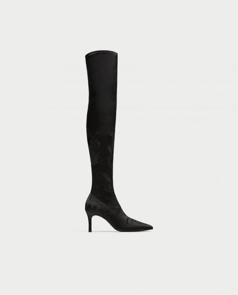 Embroidered Over the Knee High Heel Boots,