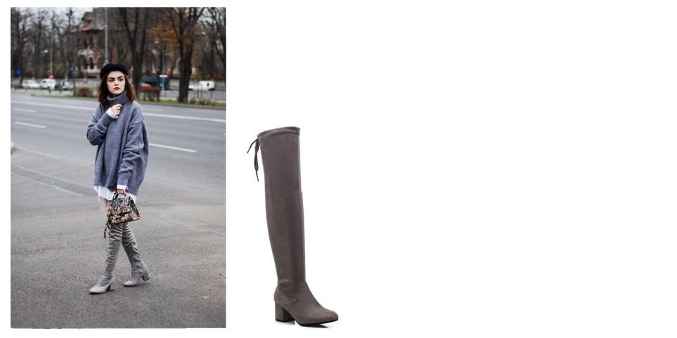 Suede μπότες γονάτου με χοντρό τακούνι και κορδόνι 5b75a9d786f