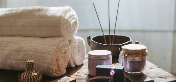 Lavender-scented products used in spa treatments.