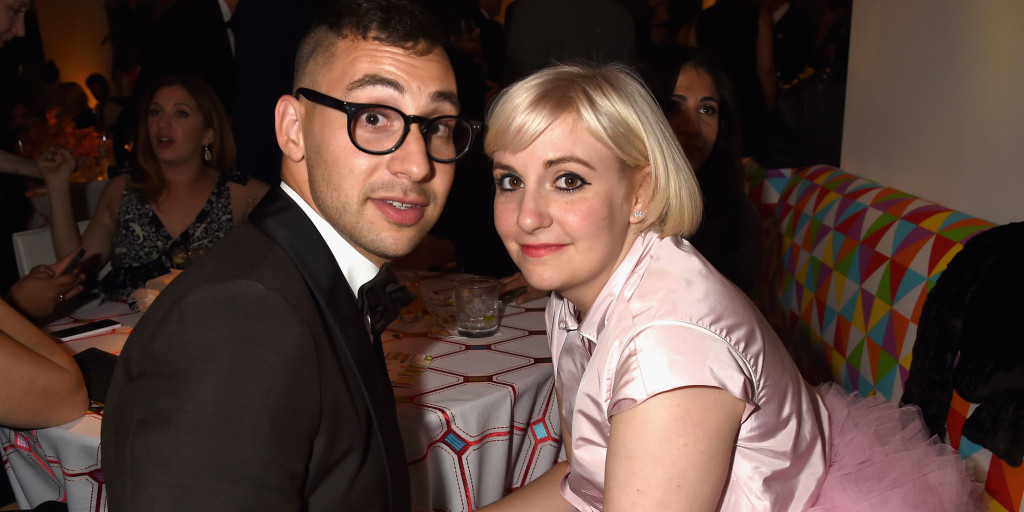 LOS ANGELES, CA - AUGUST 25: Singer Jack Antonoff and actress Lena Dunham attend HBO's Official 2014 Emmy After Party at The Plaza at the Pacific Design Center on August 25, 2014 in Los Angeles, California. (Photo by Jeff Kravitz/FilmMagic)