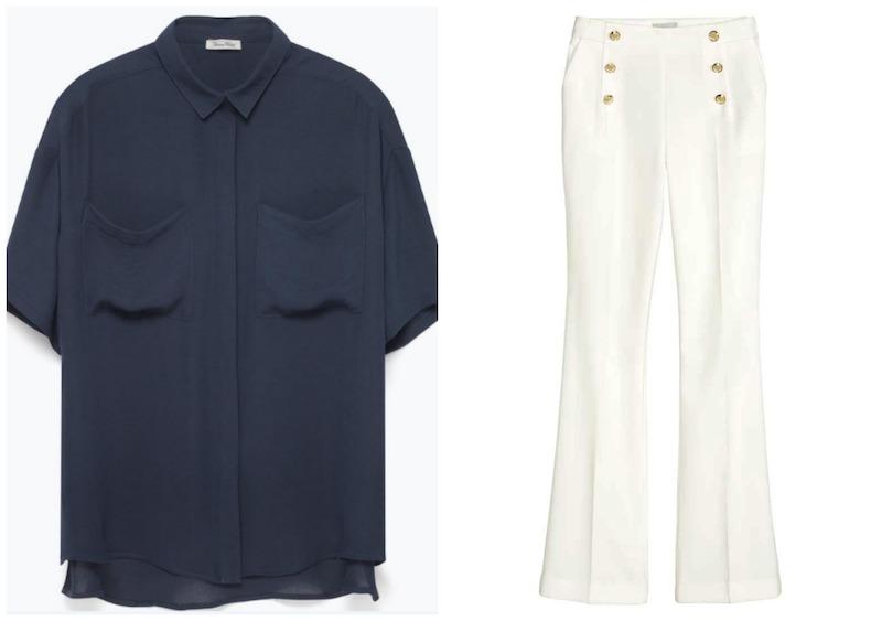 Πουκάμισο American Vintage, 100,00 € και παντελόνι με κουμπιά, H&M, 34,99 €.