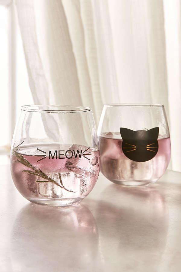 Meow Stemless Wine Glass Set, www.urbanoutfitters.com, $16.00