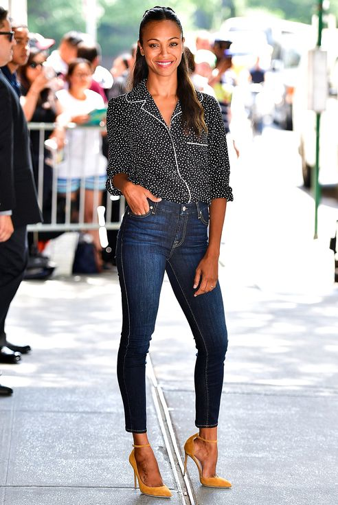 NEW YORK, NY - JULY 18: Zoe Saldana leaves ABC's 'The View' on July 18, 2016 in New York City. (Photo by James Devaney/GC Images)