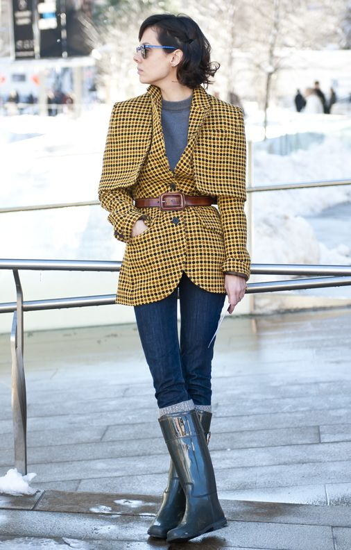 Street style photographed during New York Fashion Week at Lincoln Center on Saturday, February 9, 2013.