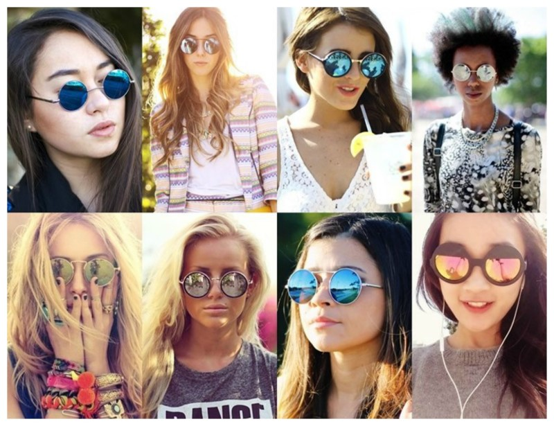 8-round mirrored sunglasses (Custom)