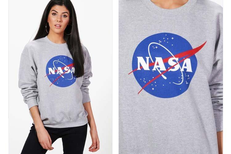 Emma Nasa Print-Oversized Sweatshirt, Boohoo