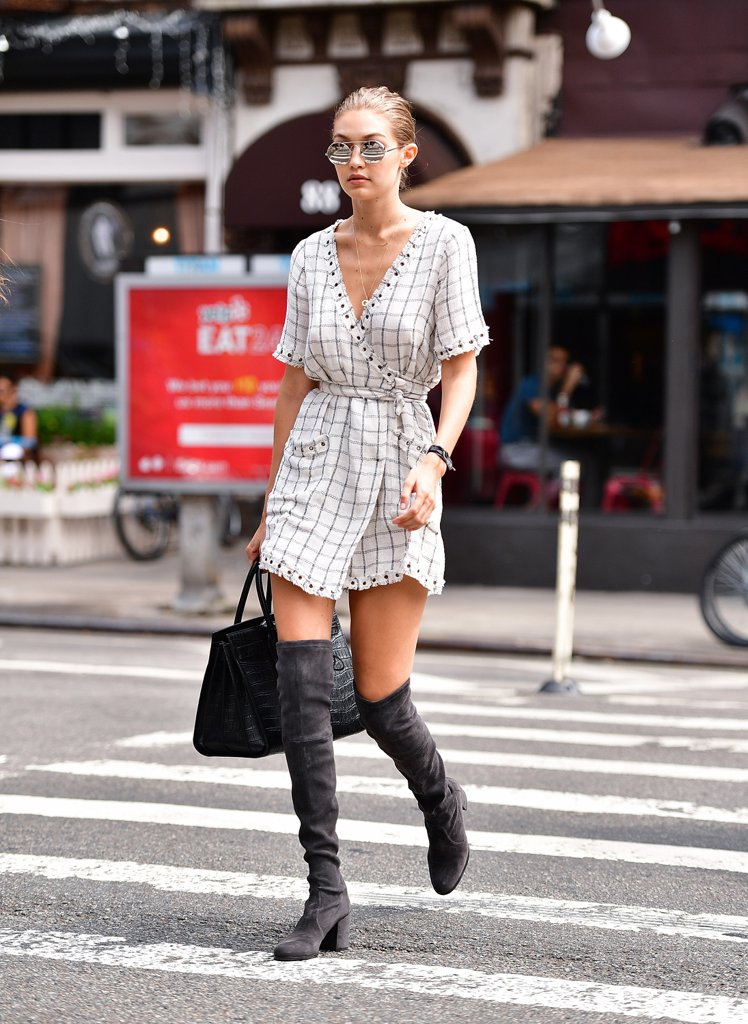 Gigi-Hadid-Wearing-Wrap-Dress-Over--Knee-Boots (2)