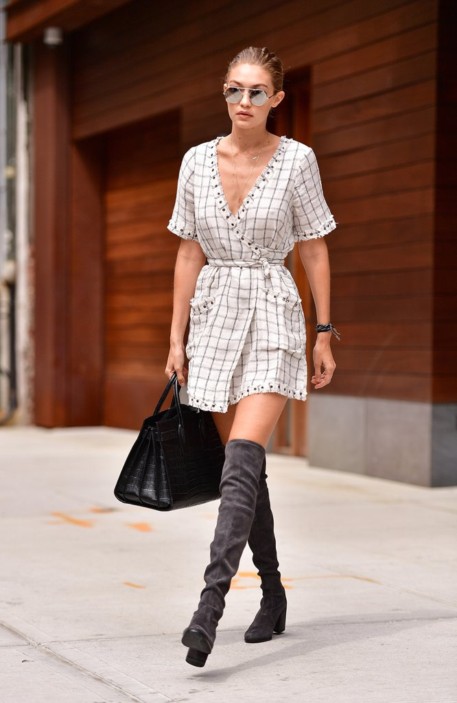Gigi-Hadid-Wearing-Wrap-Dress-Over--Knee-Boots