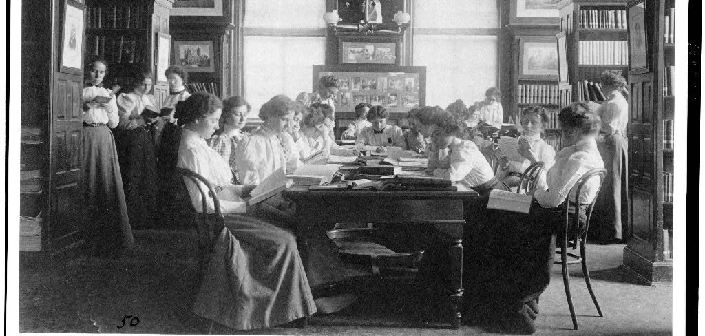 [Group of young women reading in library of normal school, Washi