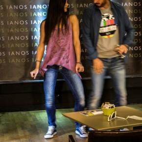 Η Κατερίνα Μαρτίνου (χορεύτρια - χορογράφος) προσπαθεί να μάθει τον Δημοσθένη Φίλιππα να χορεύει