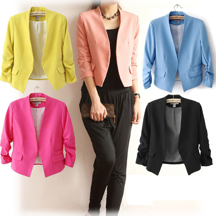 Ladies-font-b-Business-b-font-Blazer-Women-Casual-Candy-Color-Slim-Solid-font-b-Suits