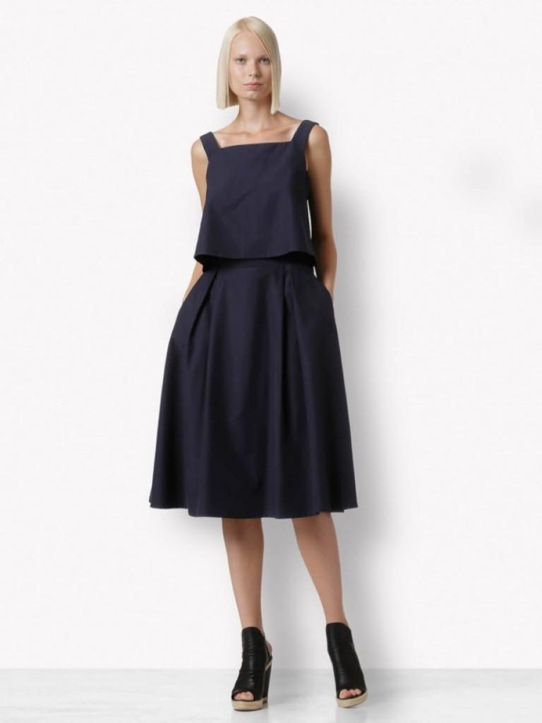 Navy blue loose top and below the knee similar skirt (Custom)
