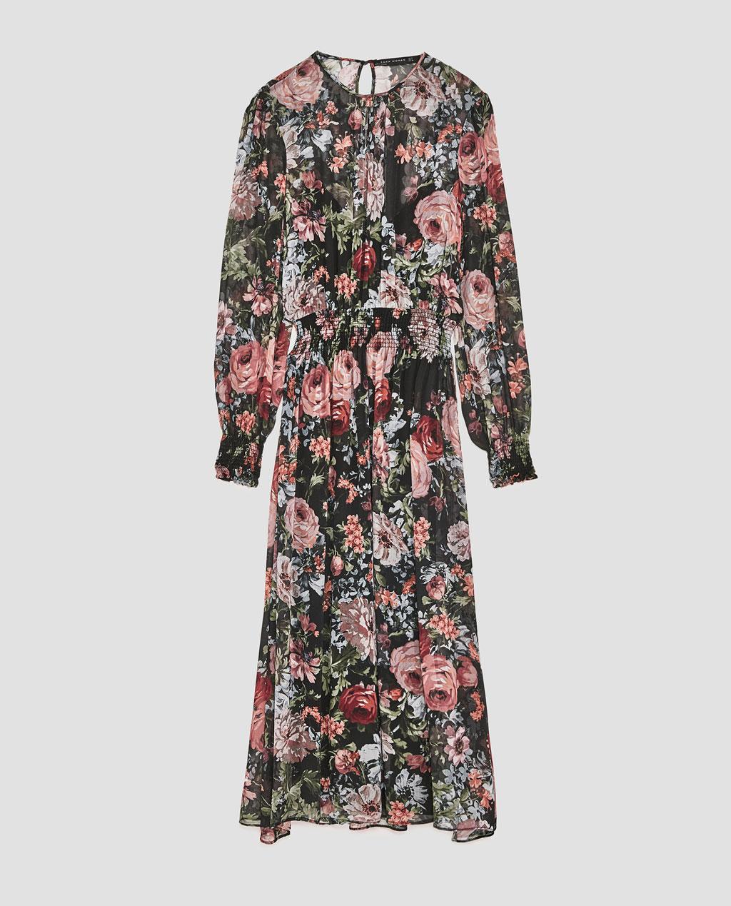 Printed Midi Dress, Zara