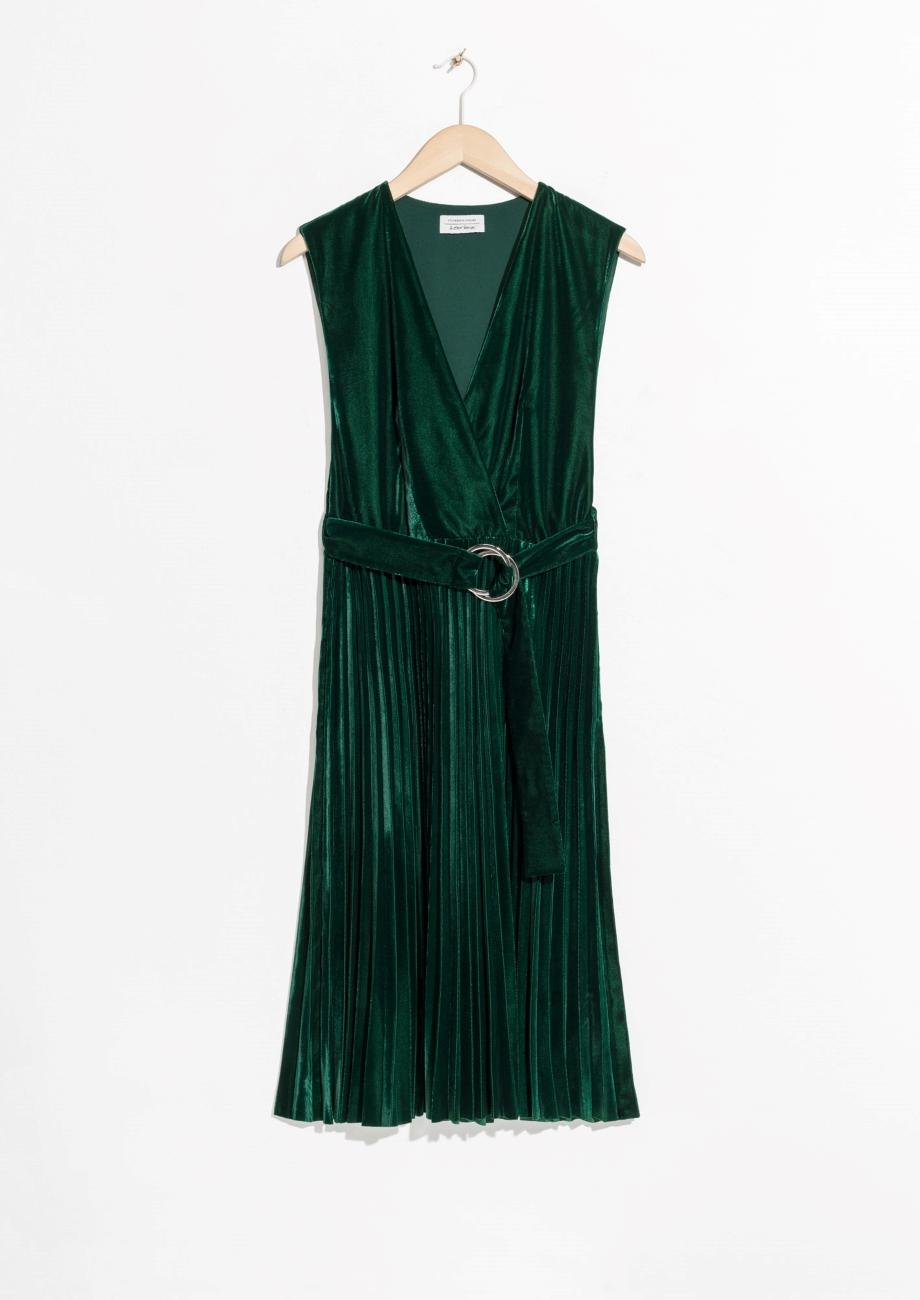 Pleated Velvet Dress, & Other Stories