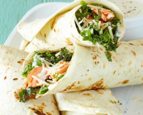 Salmon and Kale Caesar Wraps