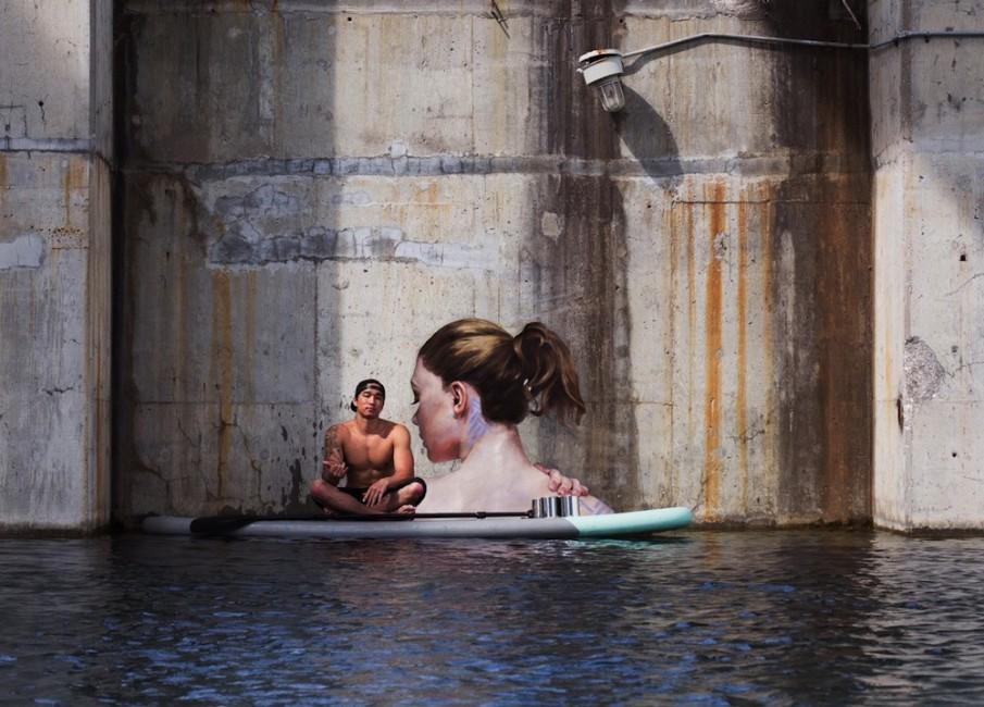 Sean Yoro  Ο Street artist με τη σανιδα του surf savoir ville (2)