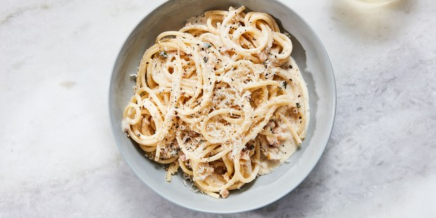Spaghetti με λευκό pesto