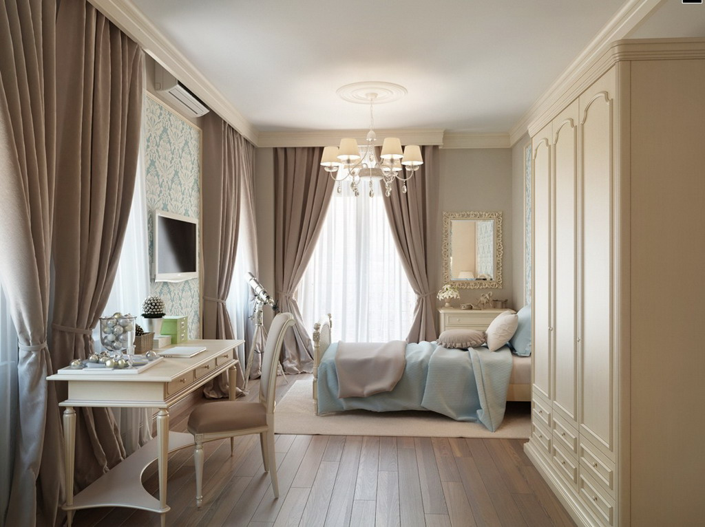 White-Furniture-Sets-In-A-Traditional-Apartment-Bedroom-Design-With-Brown-Window-Curtains-And-Television