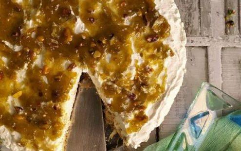 Cheesecake κανταΐφι με μαρμελάδα φιστίκι Αιγίνης