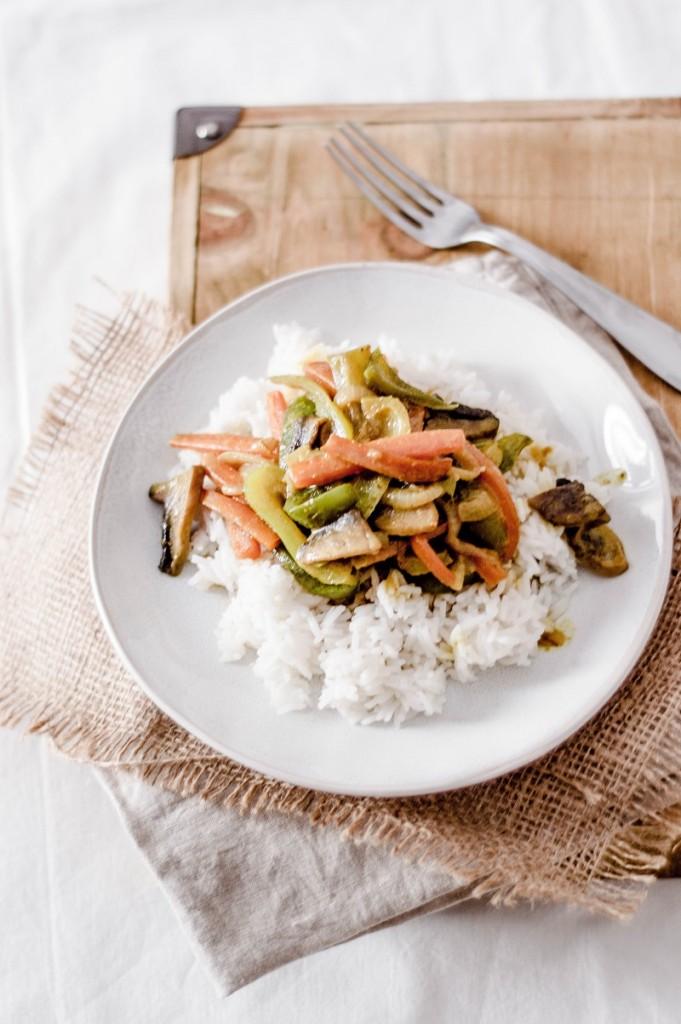 Curry λαχανικων με ρυζι μπασματι