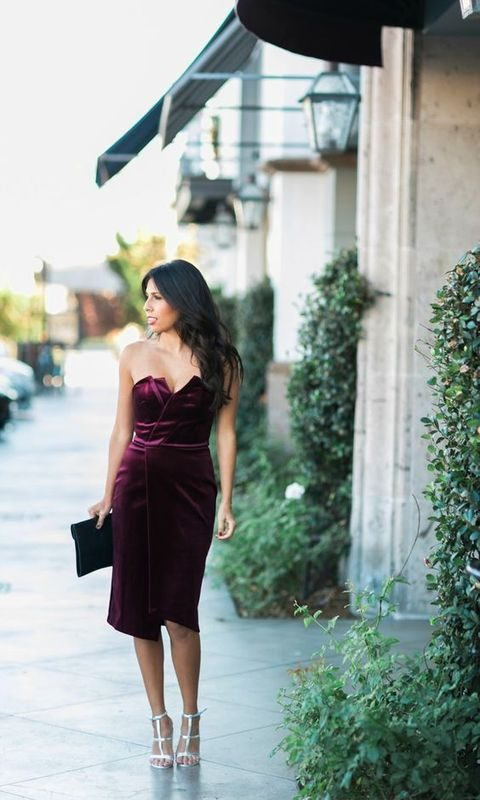 dark-purple-velvet-dress-and-silver-heels-480x800