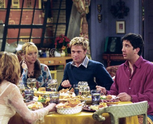 """FRIENDS -- """"The One With The Rumor""""-- Episode 9 -- Aired 11/22/2001 -- Pictured: (l-r) Jennifer Aniston as Rachel Green, Lisa Kudrow as Phoebe Buffay, Brad Pitt as Will Colbert, David Schwimmer as Ross Geller -- Photo by : Danny Feld/NBCU Photo Bank"""