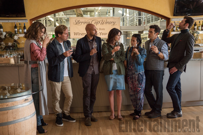 FRIENDS FROM COLLEGE Season 1, Episdoe 5 Air Date: July 2017 Pictured: Annie Parisse, Nat Faxon, Keegan-Michael Key, Cobie Smulders, Jae Suh Park, Fred Savage, Billy Eichner