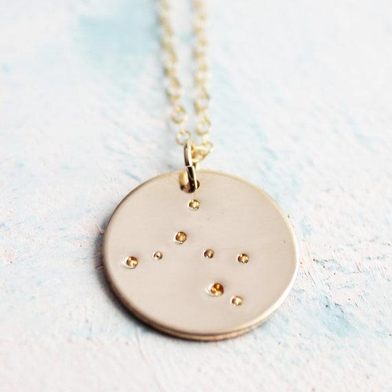 Zodiac Constellation Necklace, Gold Zodiac Necklace, zodiac charm, star sign jewelry, Sagittarius constellation, horoscope jewelry €63.69, SoundsofSilver, Etsy.com