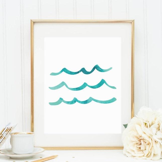 Sea Art, Ocean Waves Print, Ocean Artwork, Printable Decor, Gallery Wall Prints, Sea Wave Artwork, Ocean Art Print, Aqua Print, Blue Decor €7.29, PrintsbyJettyHome, Etsy.com