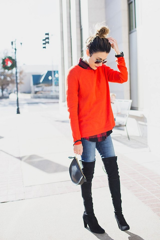 over-the-knee-boots-holiday-dressing-christmas-red-sweater-plaid-shirt-lumberjack-plaid-jeans-via-wwww