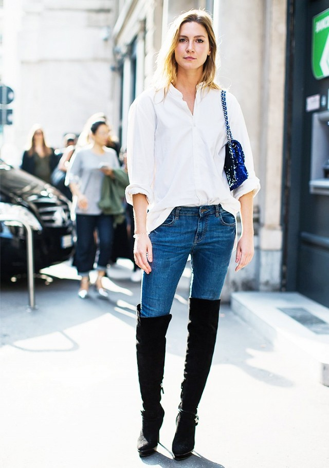 over-the-knee-thigh-high-boots-jeans-white-oxford-shirt-tucked-in-shirt-white-mens-oxford-weekend-brunch-fall-via-a-love-is-blind