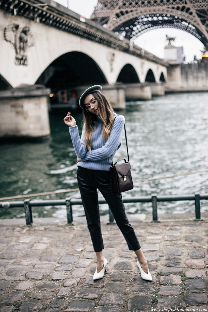 paris-fashion-week-baby-blue-turtleneck-leather-pants-white-celine-v-neck-shoes-grey-beret-fall-trends-2016-1