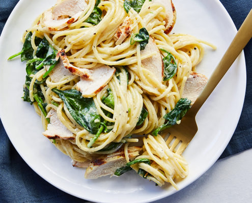 Pasta Florentine with Grilled Chicken