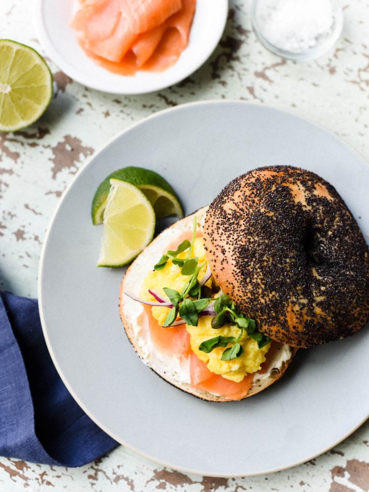 Scottish-Smoked-Salmon-Bagel-with-Scrambled-Eggs-kitchenconfidan