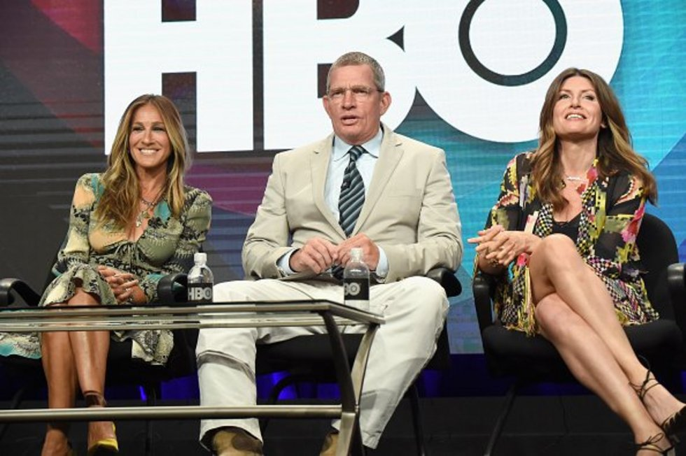 Sarah Jessica Parker with Thomas Haden Church, who plays her husband in Divorce, and the show's writer Sharon Horgan