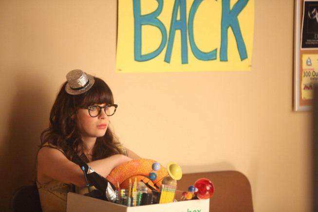 """NEW GIRL:  Jess (Zooey Deschanel) is laid off from her teaching job in the all new Season Two """"Re-launch"""" episode of NEW GIRL airing Tuesday, Sept. 25 (8:00-8:30 PM ET/PT) on FOX.  ©2012 Fox Broadcasting Co.  Cr:  Patrick McElhenney/FOX"""