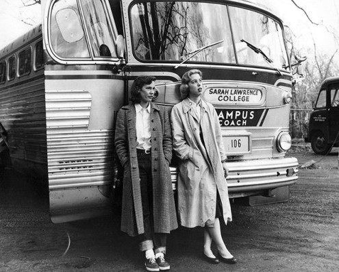 Students at Sarah Lawrence College wait outside of a bus during a school trip to Tennesee, 1955