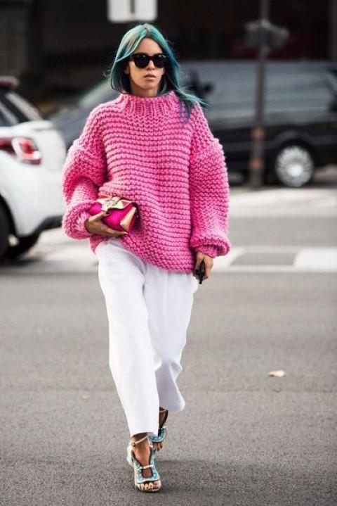 we329x-l-610x610-sweater-neonpinksweater-whiteflaredpants-blueheels-blogger-sunglasses-small
